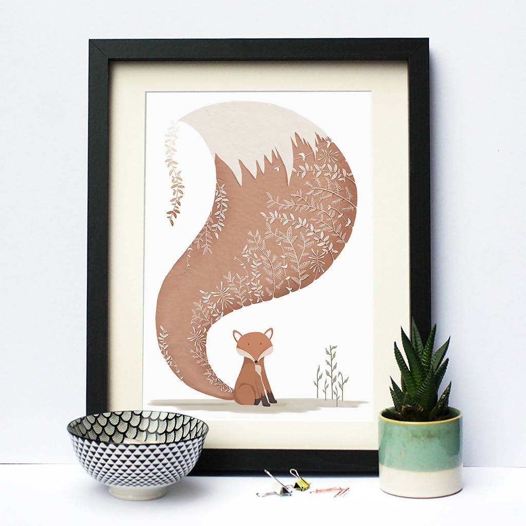 Illustrated Print Fox Decorative Tail