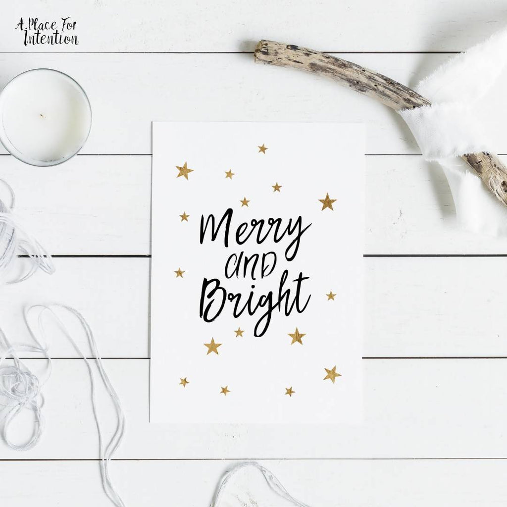 Merry & Bright Star Christmas Quote Card