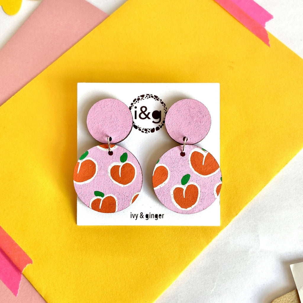 Pink Peaches Fruit Drop Dangle Hand Painted Wooden Earrings