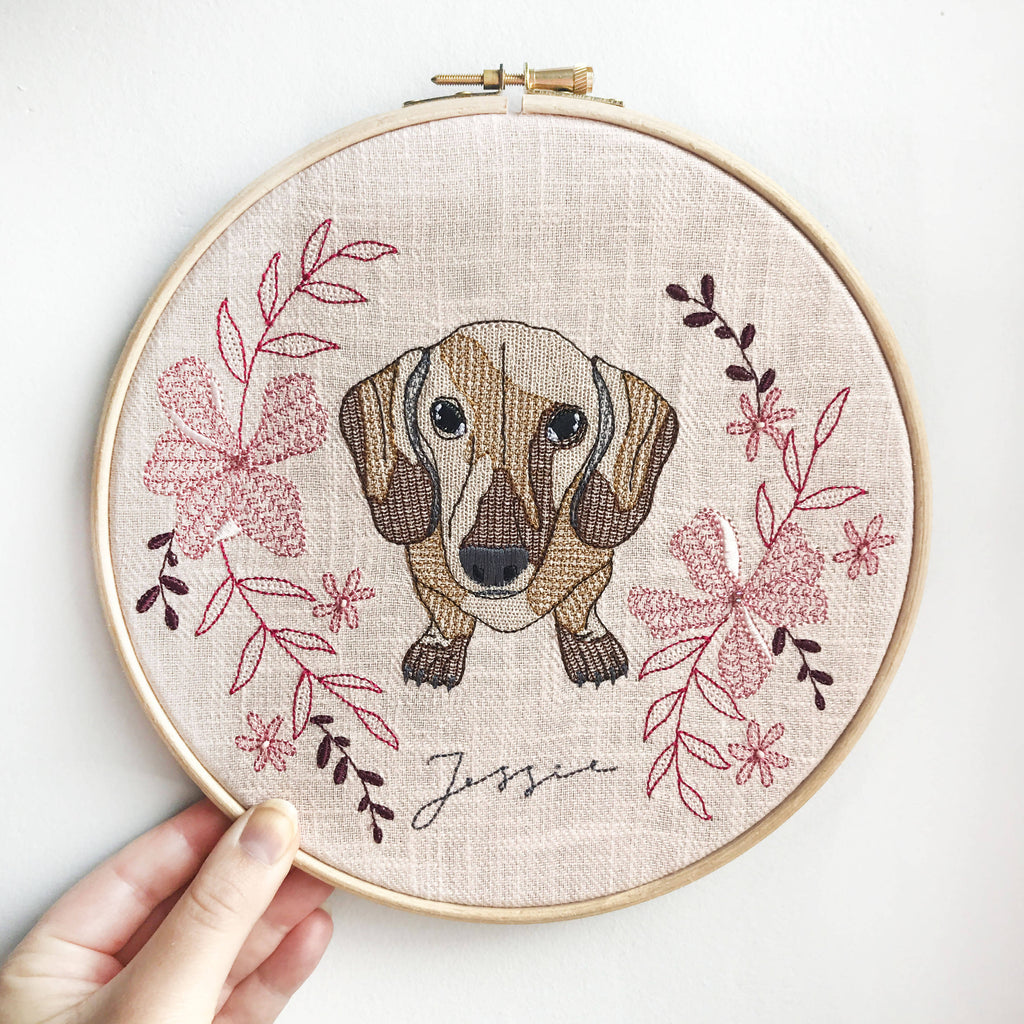 Custom Pet Portrait Embroidery Hoop