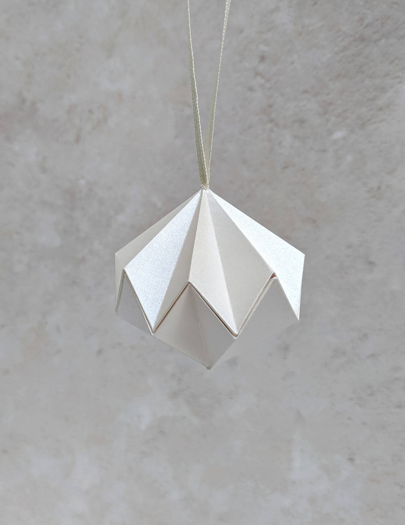 ivory origami diamond tree ornament