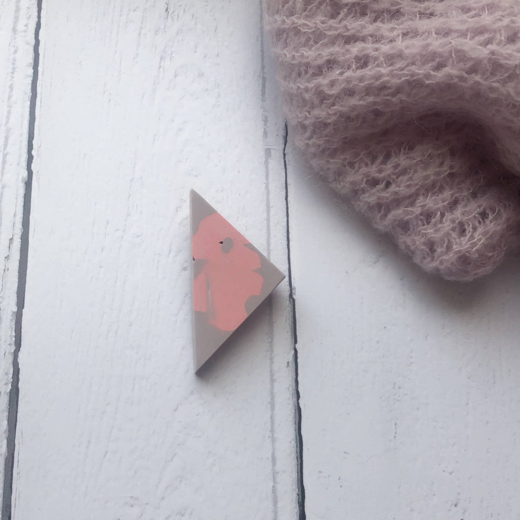 Lilac and pink jesmonite triangle brooch - mini