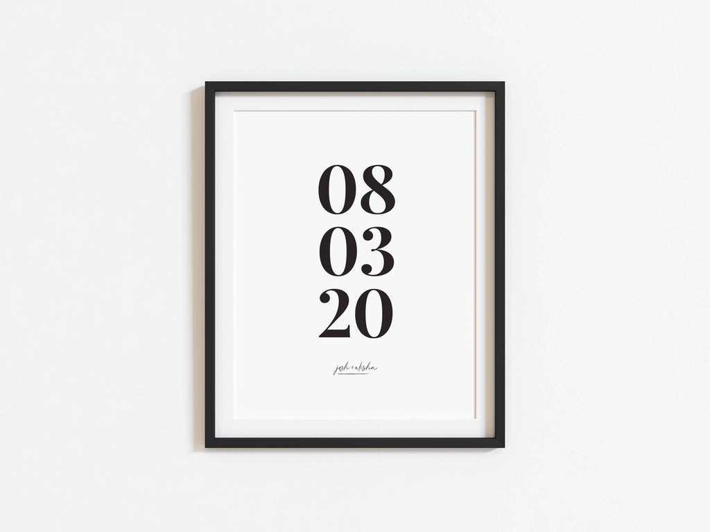 Modern Anniversary Personalised Print, Home Decor A4, A5 Print
