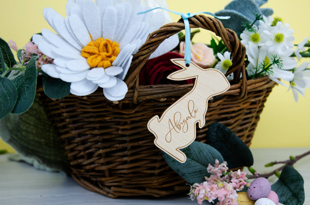 Personalised Eco friendly Rabbit Easter Basket Tag