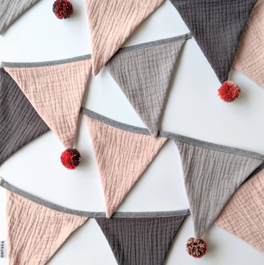 Double gauze bunting, fabric bunting pompom garland