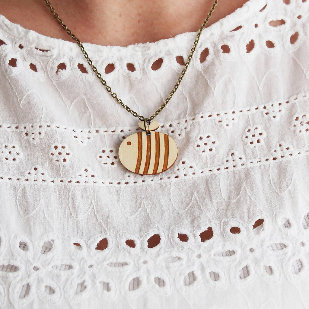 Wooden Bumble Bee Necklace-Ginger Pickle