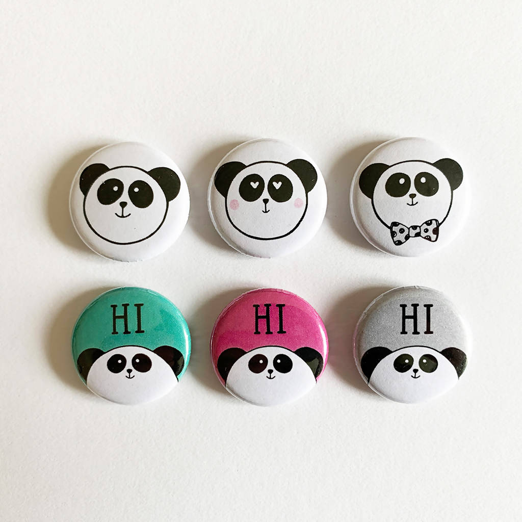 Panda Button Badges Pack - Set of 6