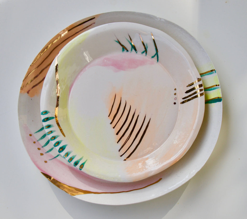 Abstract and gold luster dish