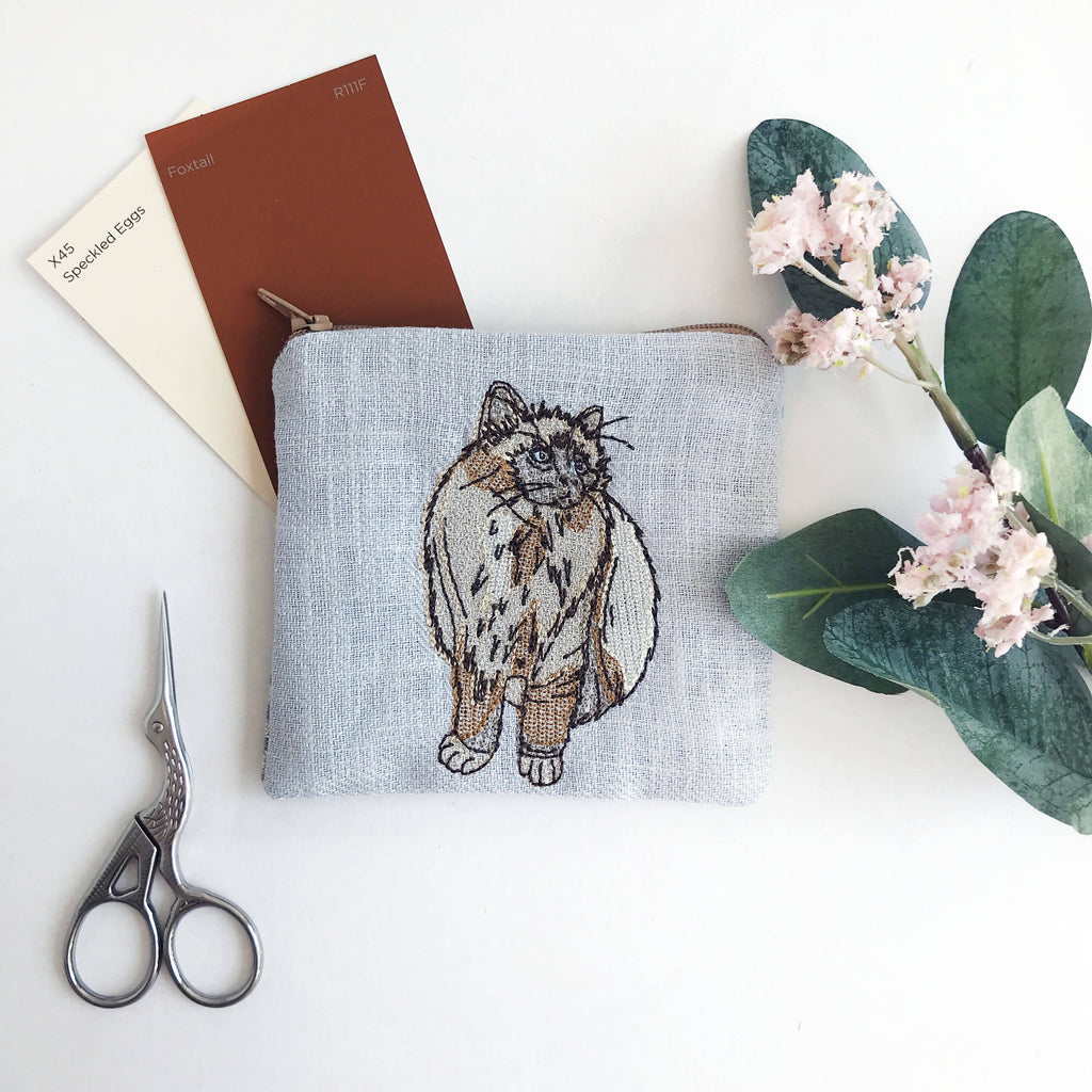 Dove Grey Embroidered Cat Purse