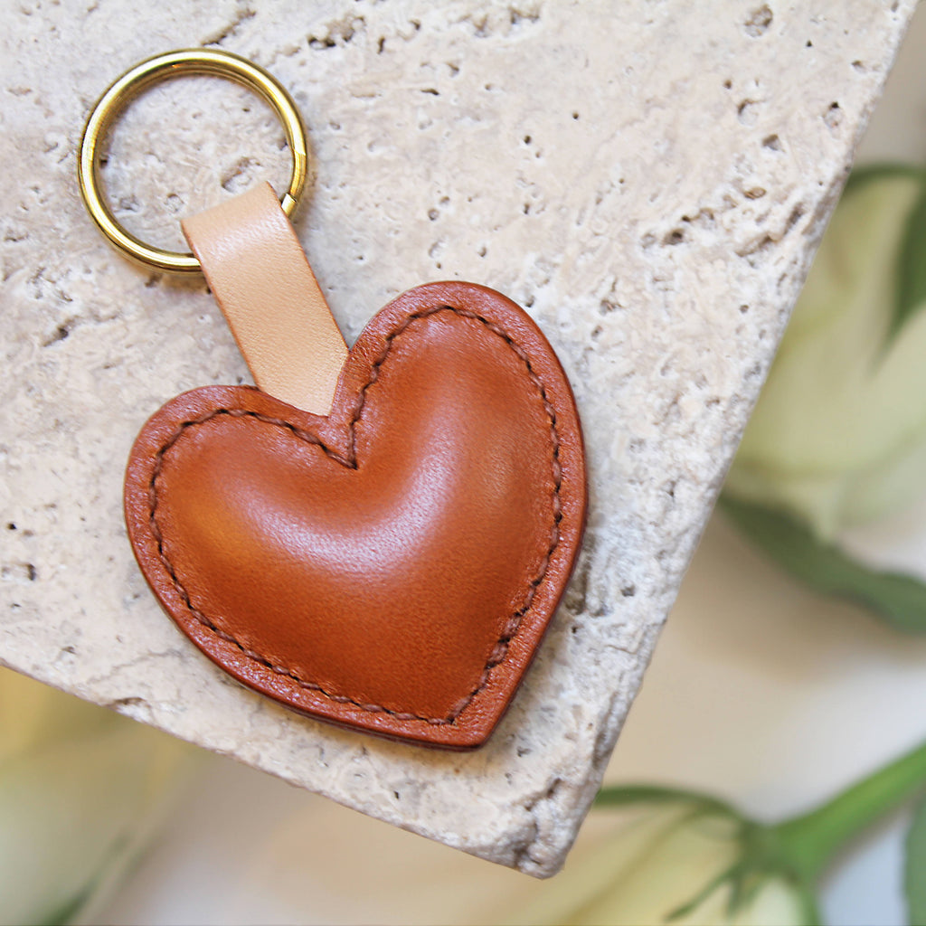 Personalised tan leather heart keyring