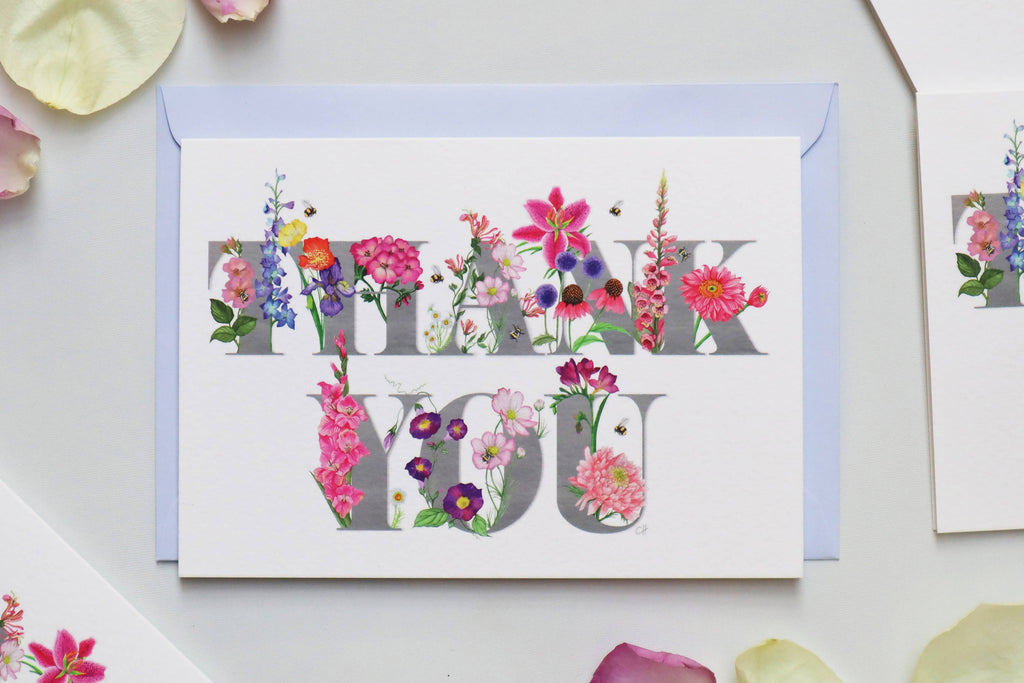 Pack of 6 'Thank You' Botanical Greetings Cards