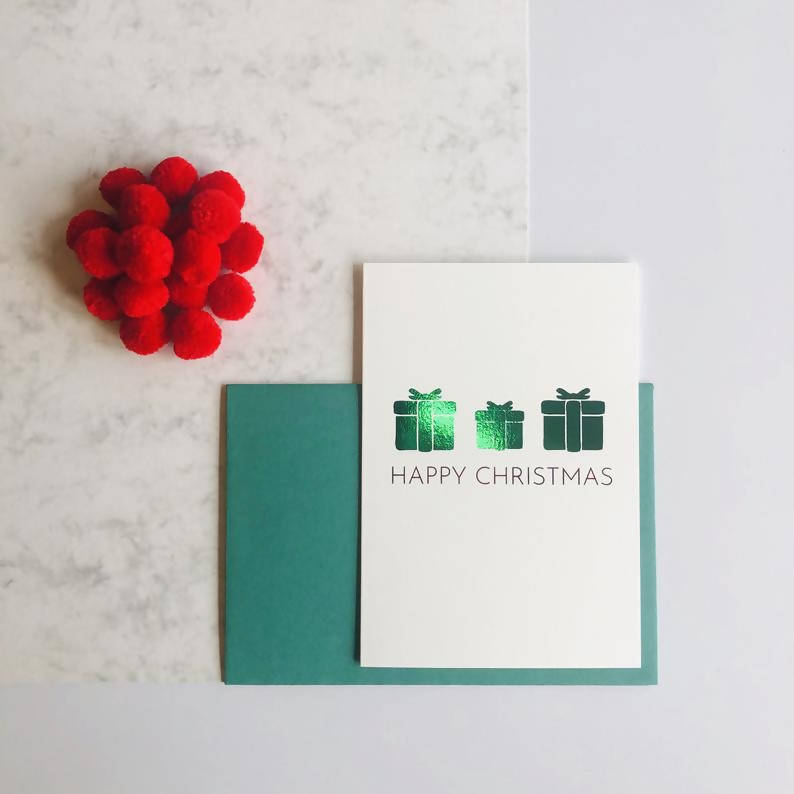 Single or Packs of Present Charity Foiled Christmas Cards