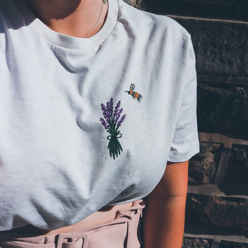 Bee & Lavender Sprigs Unisex Organic Cotton Hand Painted T-shirt