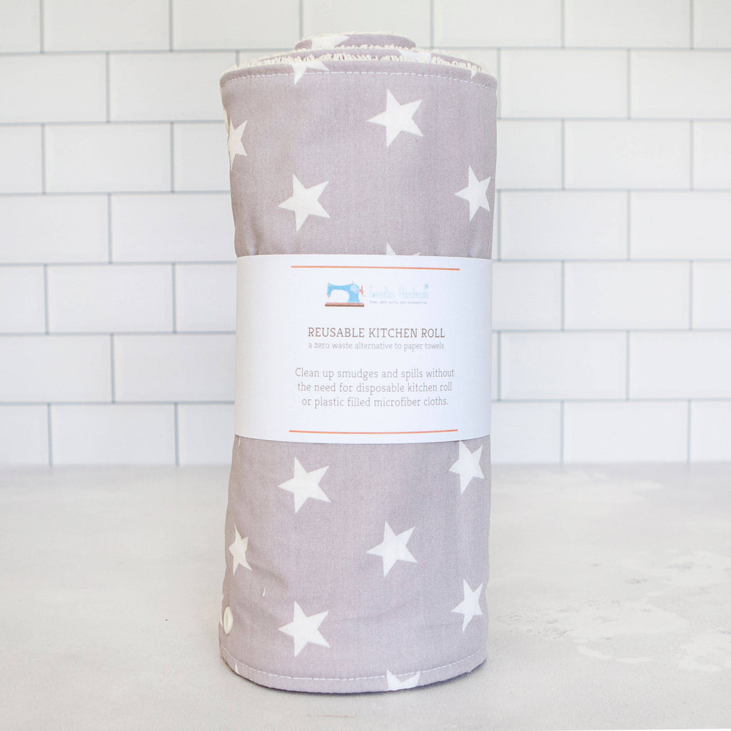 Eco Friendly Reusable Kitchen Roll in Grey Stars Print