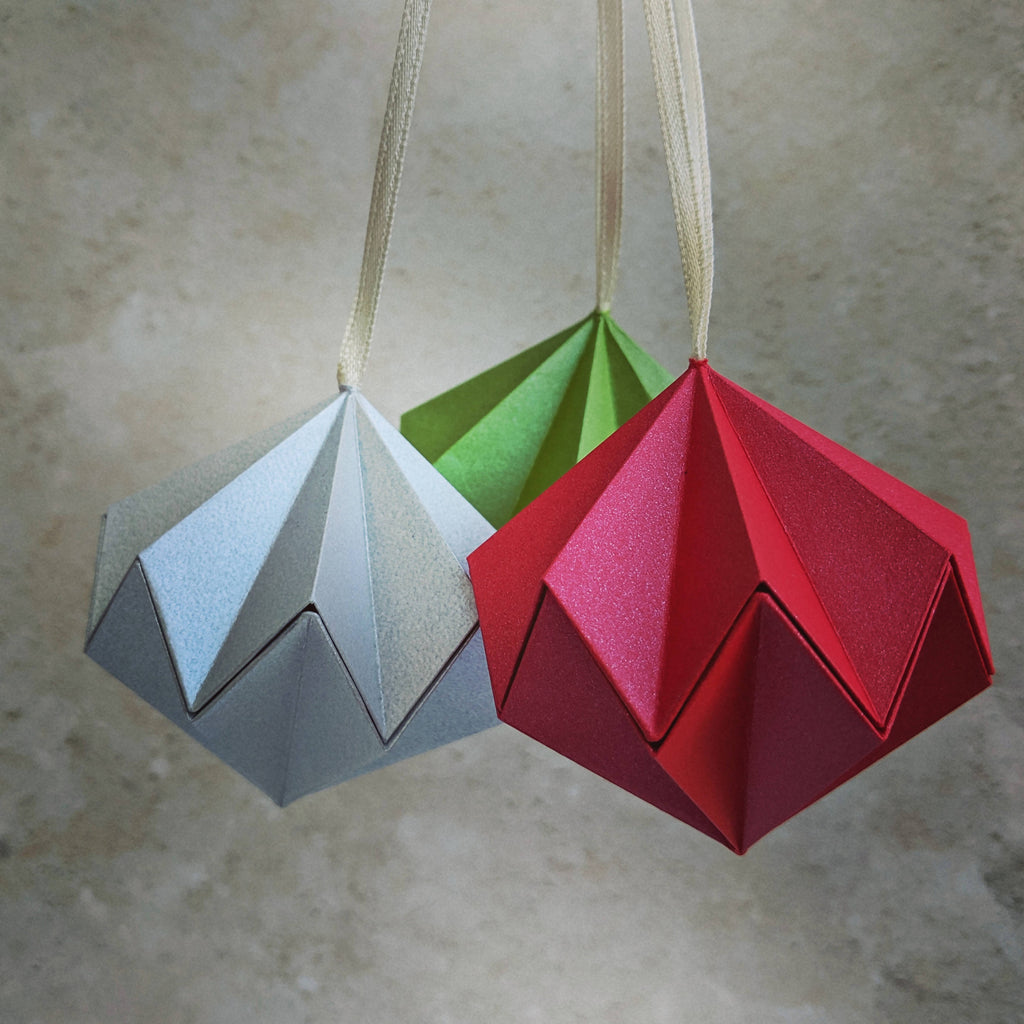 red silver and green paper diamond hanging decorations