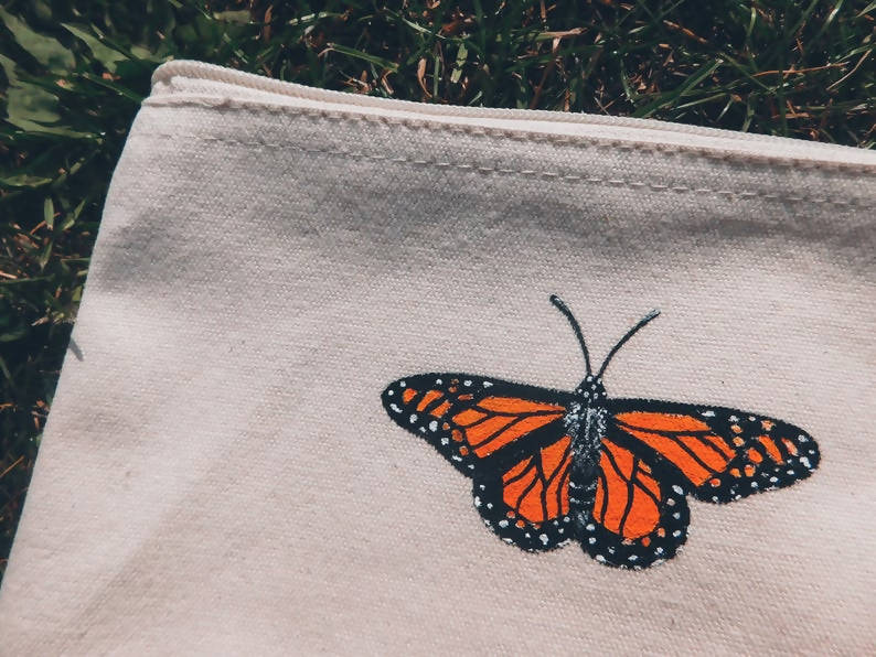 Butterfly Hand Painted Organic Cotton Accessory Pouch