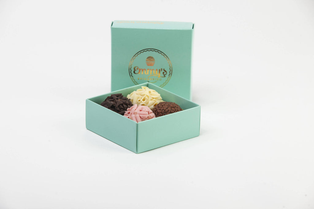 Box of 4 brigadeiros - with foil printed lid