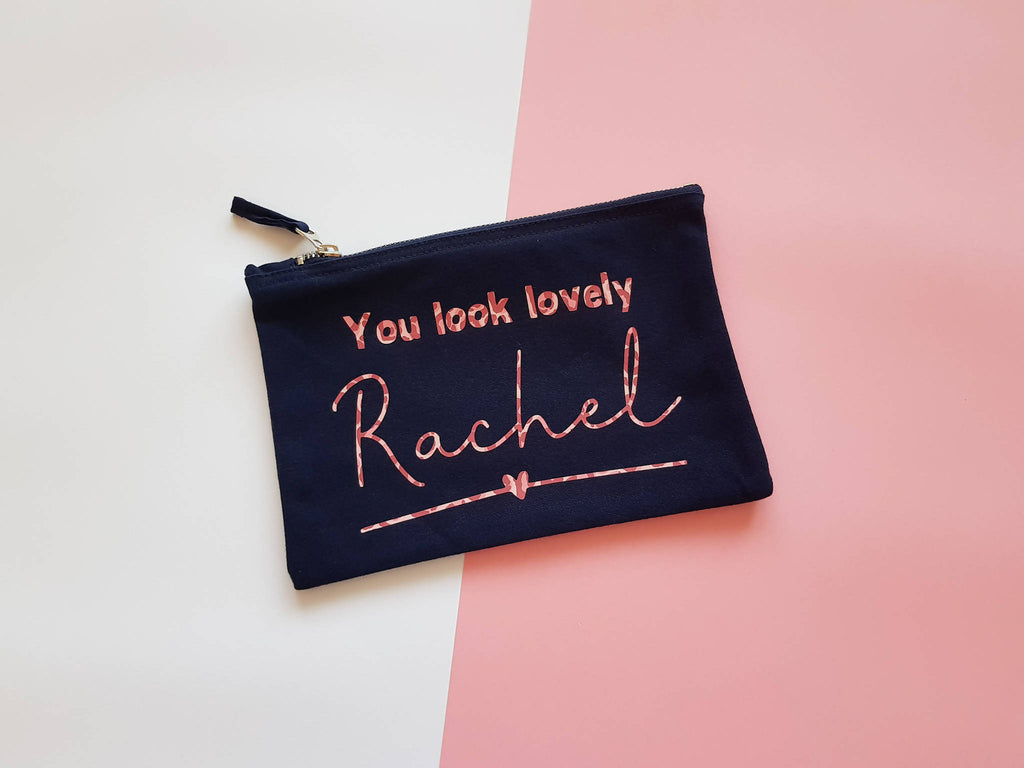 You look lovely Personalised Patterned Pouch/ Make up Bag/ Pencil Case