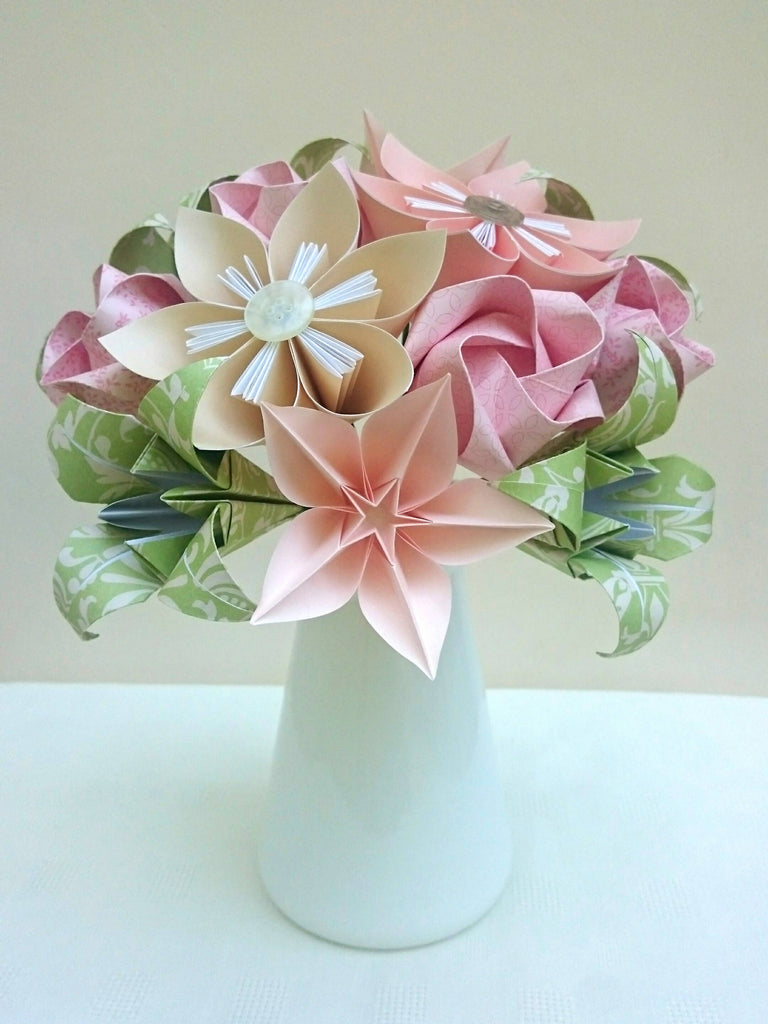 Pastel pink and green origami flower bouquet
