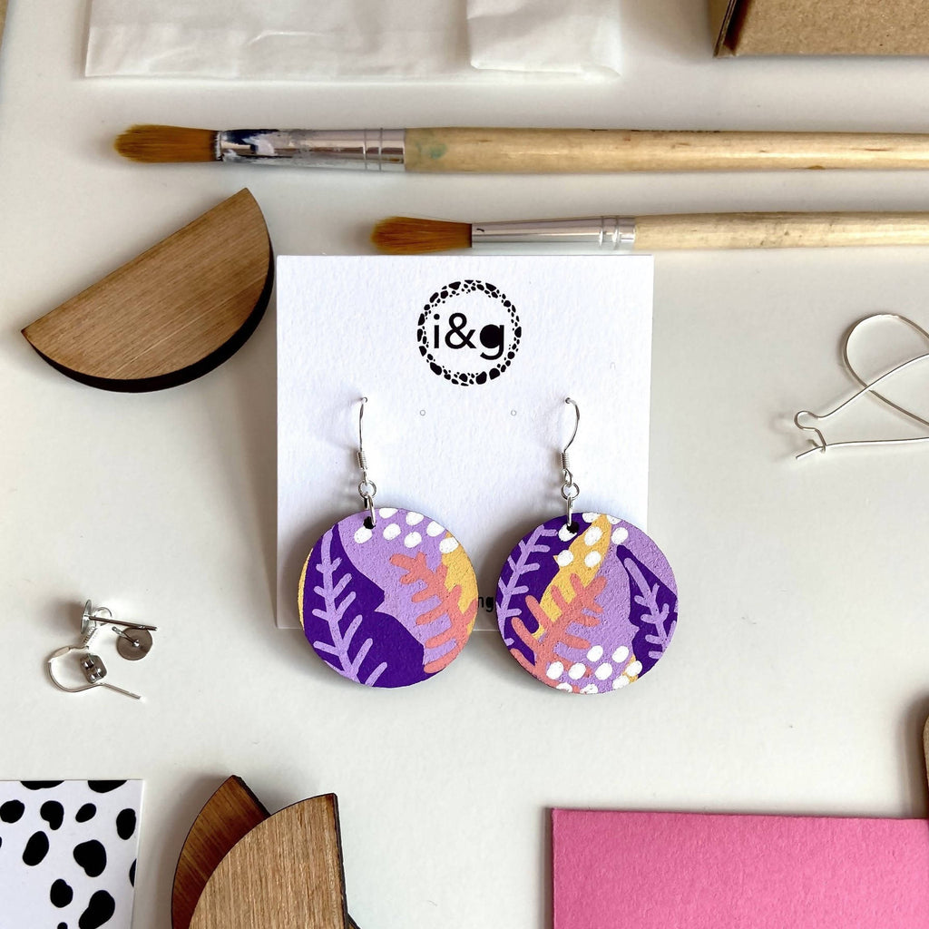 The Tropical Wooden Drop Earrings