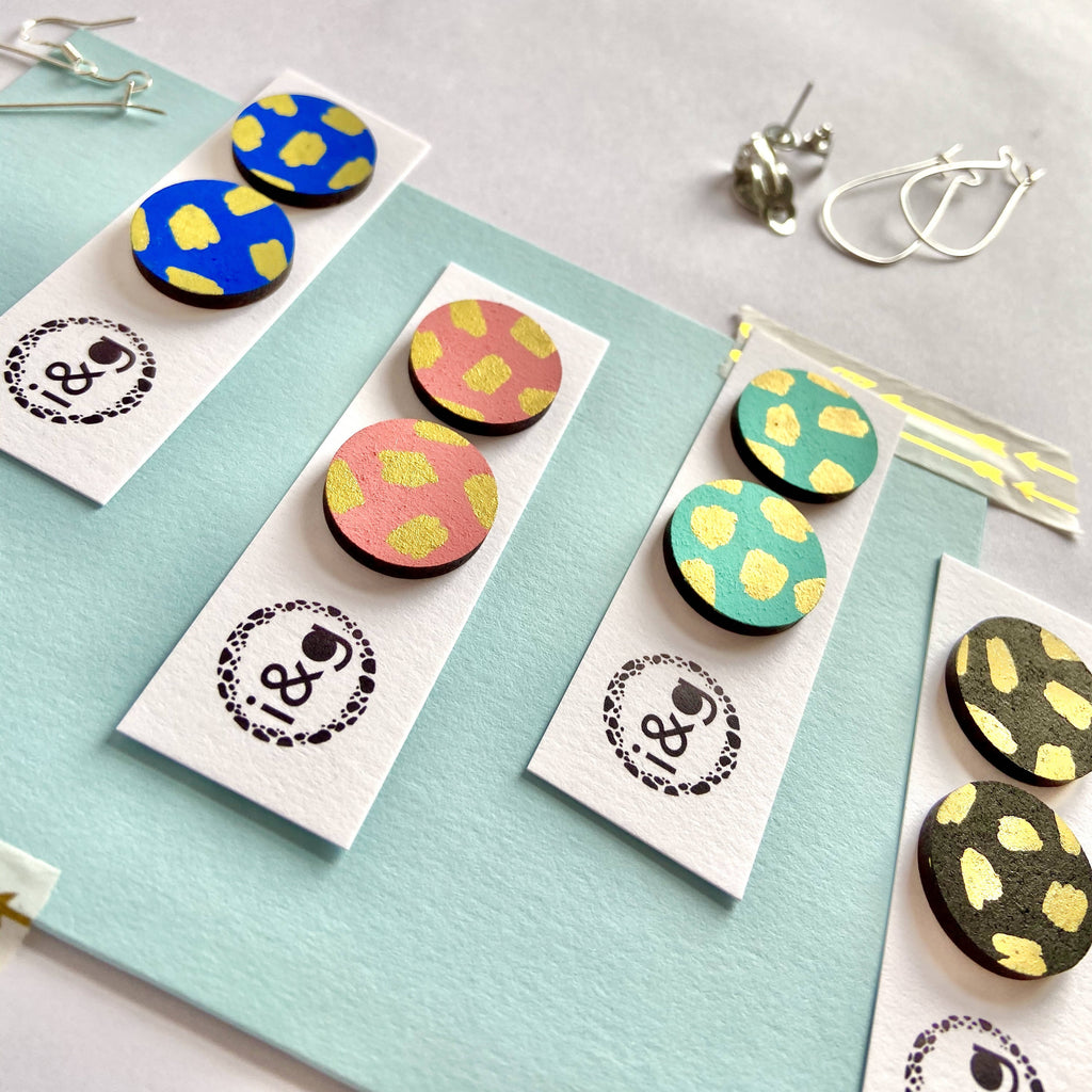Colourful Gold Blush Hand Painted Wooden Stud Earrings