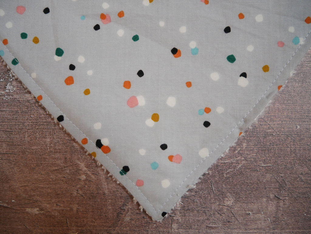 Grey with multicoloured spots bamboo baby bib