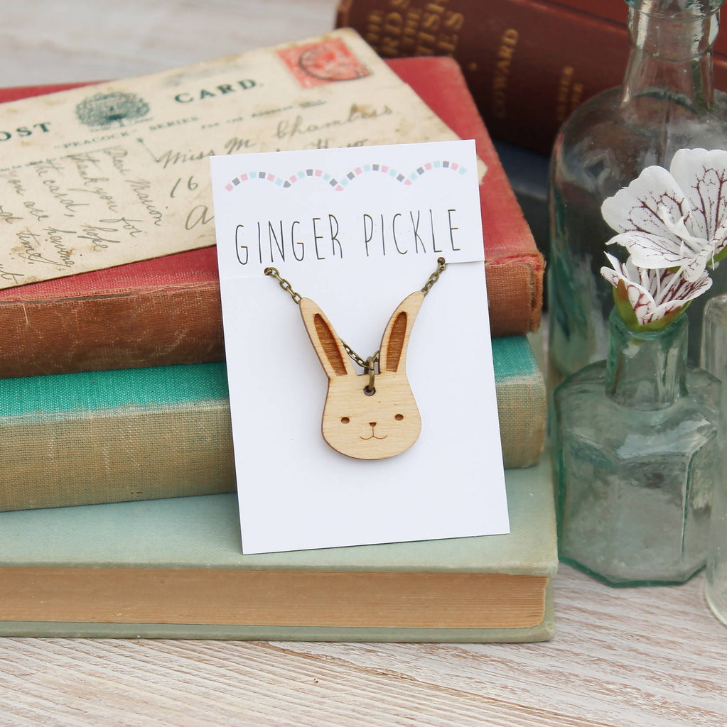 Wooden Bunny Rabbit Necklace