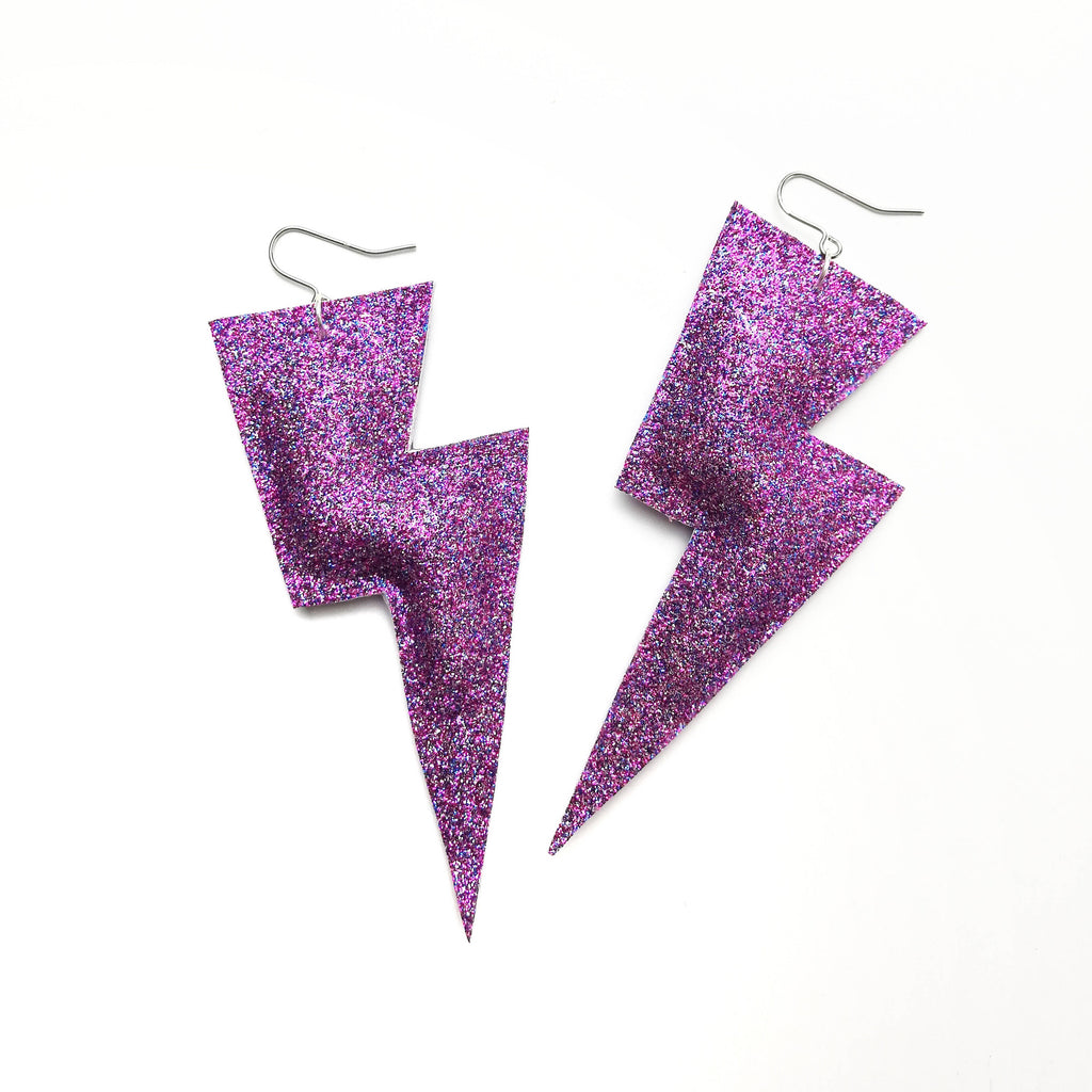 Super Disco Bolt Lightning Bolt Earrings - Glitter Collection