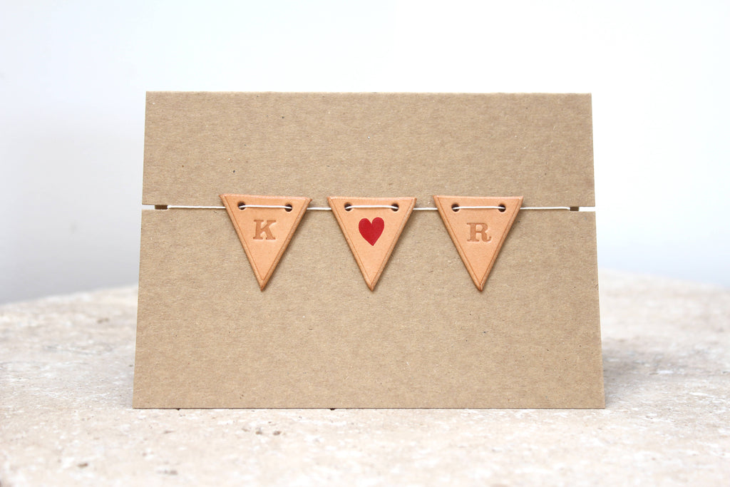 Mini personalised leather bunting card