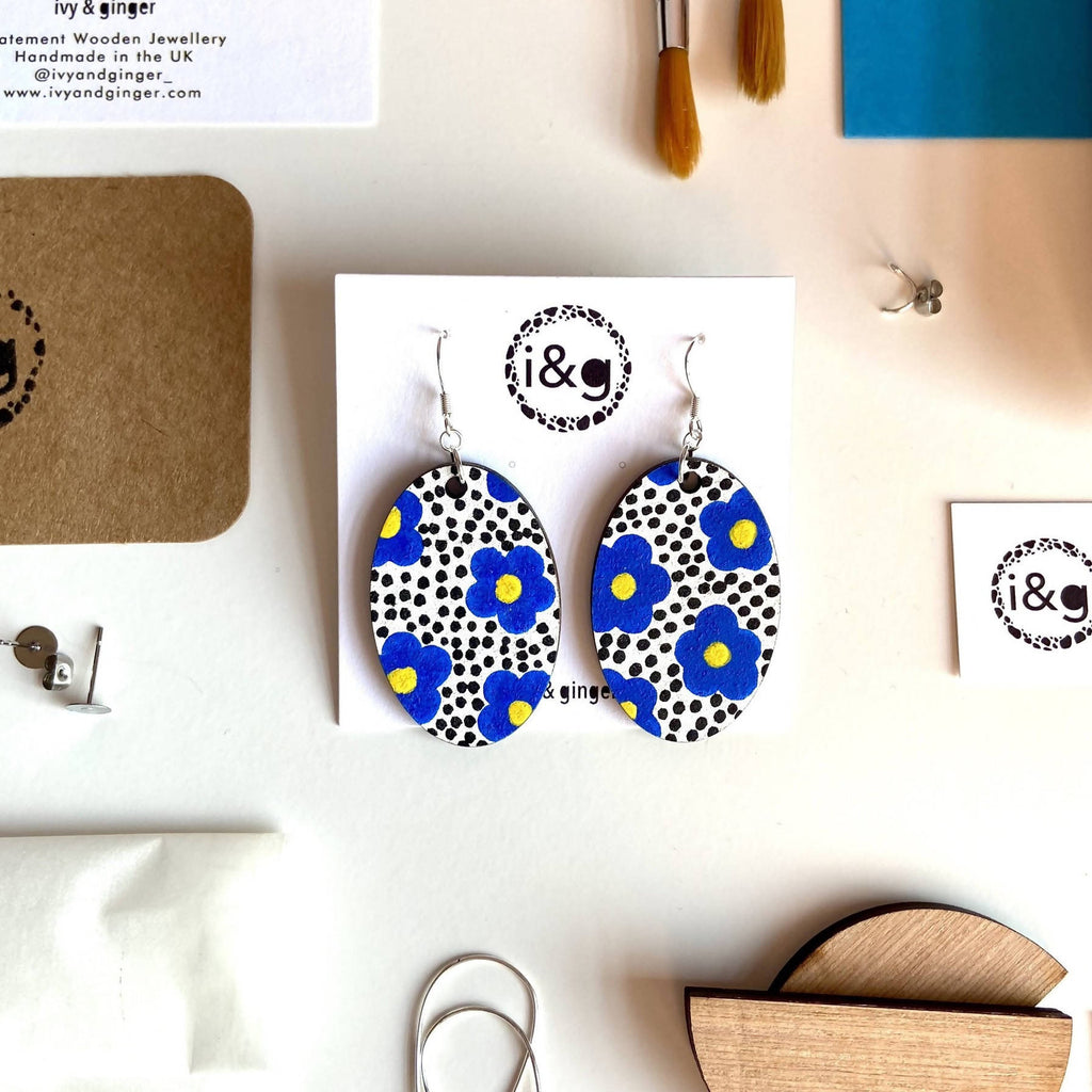 The Blue Floral Hand Painted Wooden Oval Drop Earrings