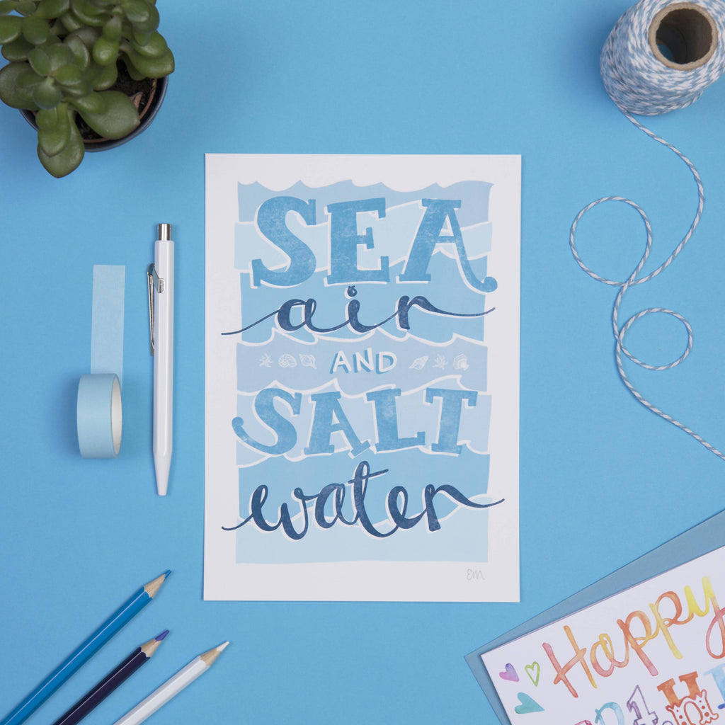 Sea Air and Salt Water Illustrated, Typography Wall Art Print