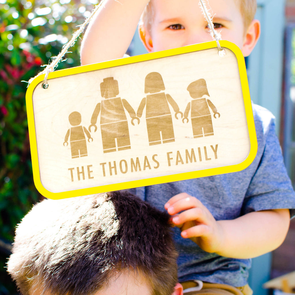 Personalised wooden Lego family sign