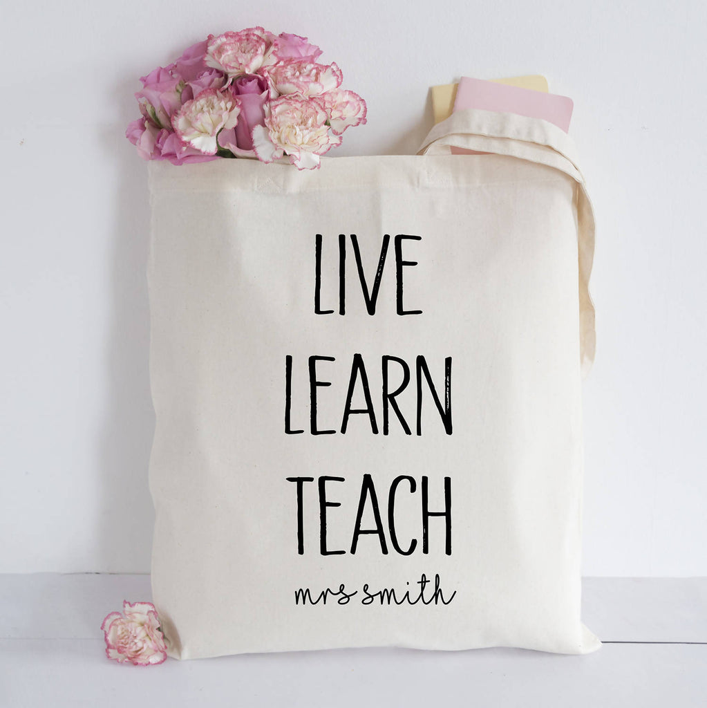 Personalised Live, Learn, Teach Tote bag