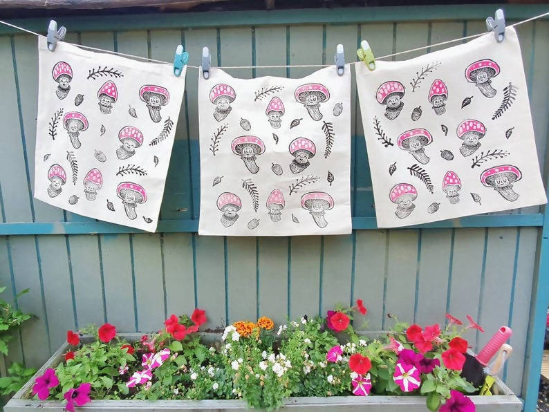 Handprinted toadstool tote bags in organic cotton