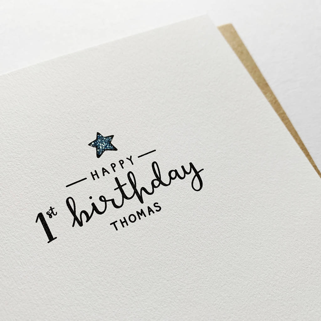 Simple Star Personalised Age Birthday Card