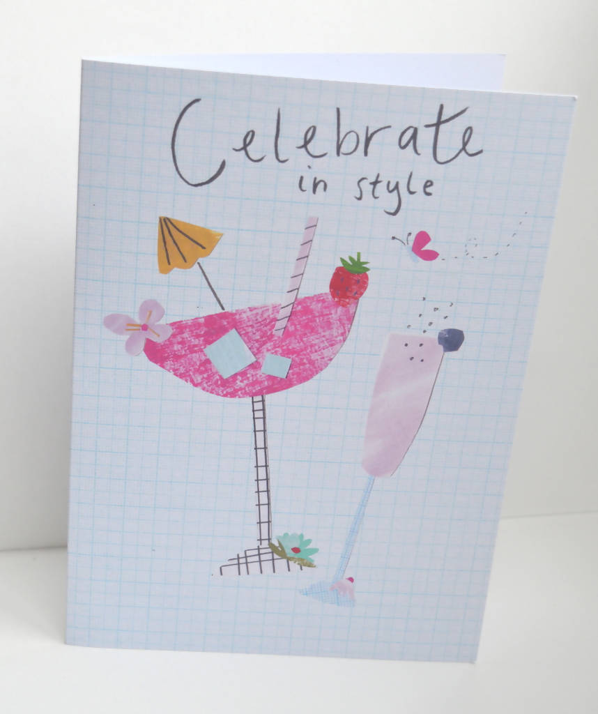 Dolly Pepper Studio, A5 Greeting cards, cocktails, sunshine, birthday card for her
