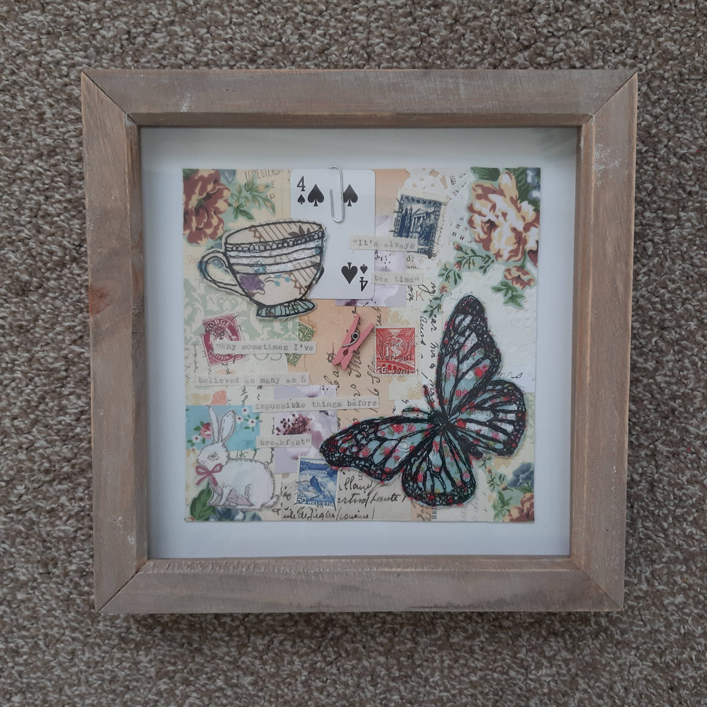 Butterfly Mixed Media Collage- Free Motion Machine Stitched Butterfly Collage, 16X16cm
