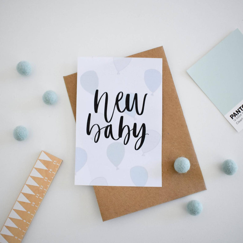New Baby Brush Lettering Card