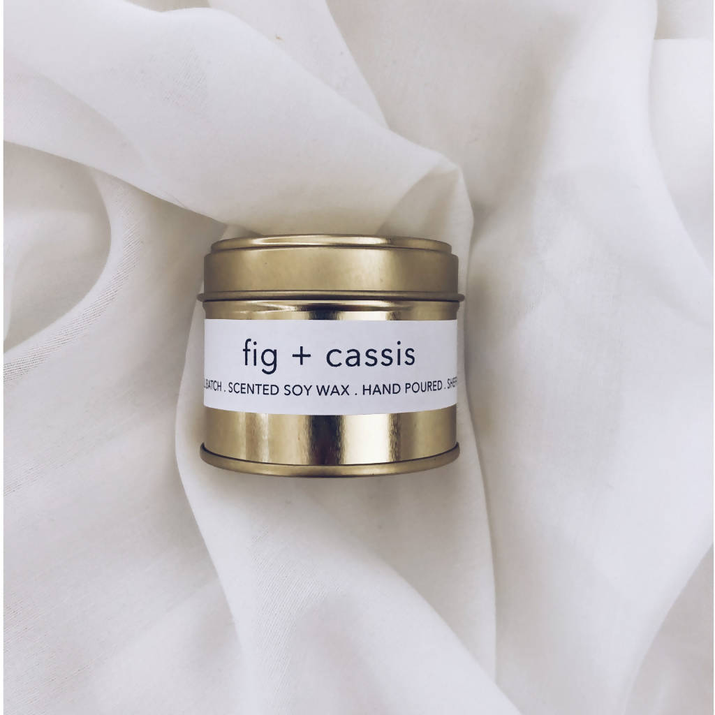 Fig + Cassis Scented Gold Tin Candle