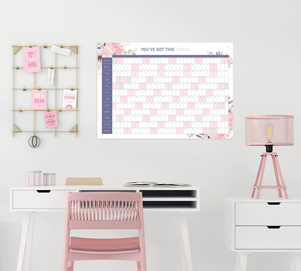 Personalised 2021 Motivational Purple Floral Wall Planner