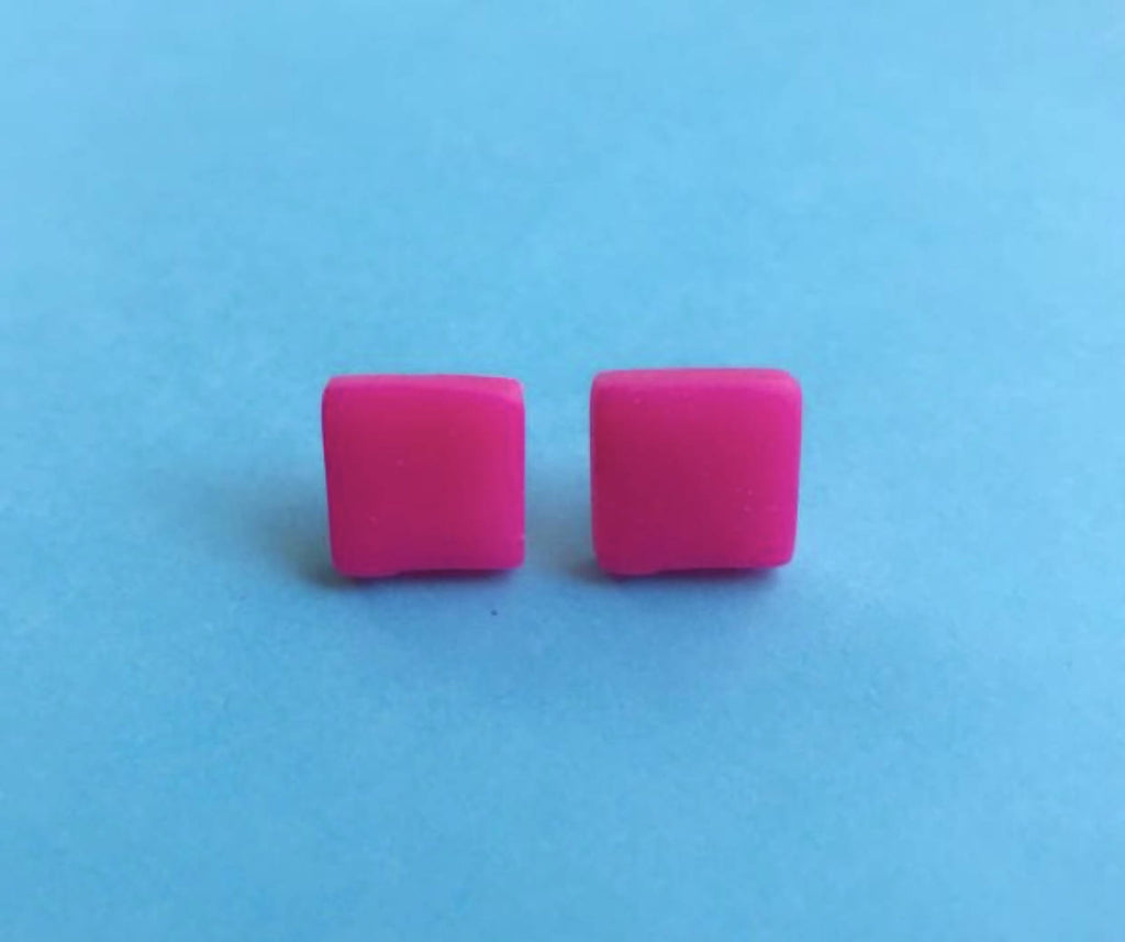 Neon pink square geometric earrings