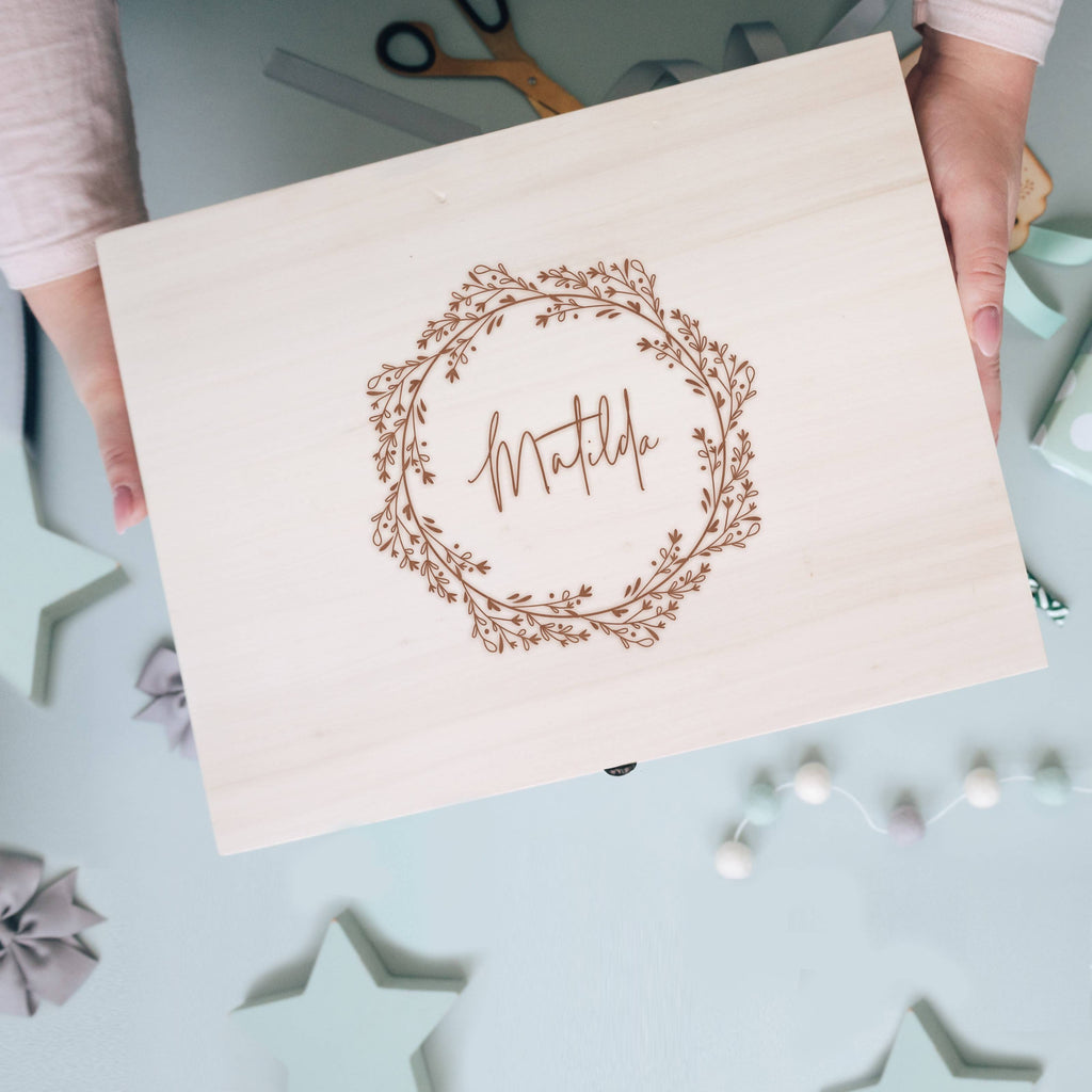 Birthday or New Baby Wooden Engraved Memory Box with Floral Wreath