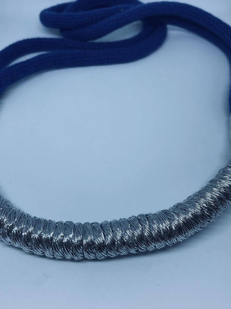 Classic Blue and Silver Statement Necklace