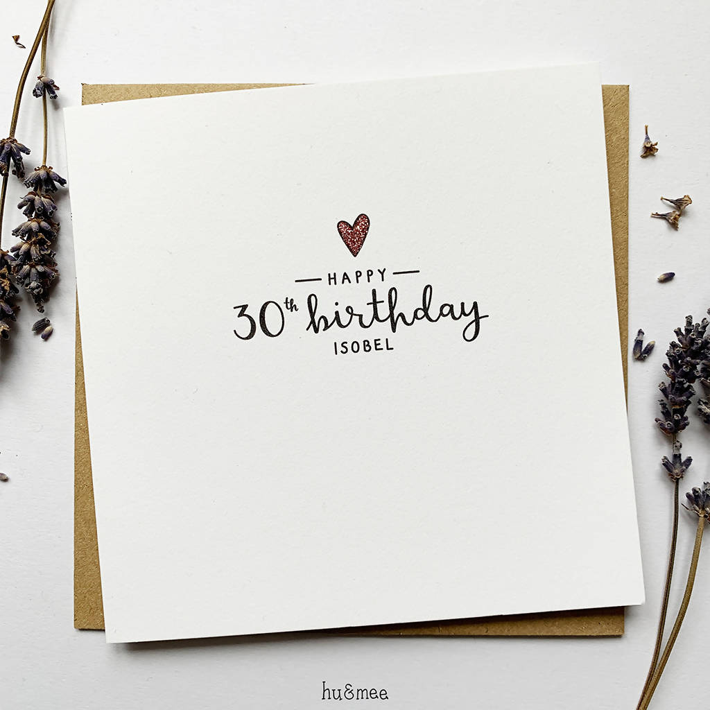 Simple Heart Personalised Age Birthday Card