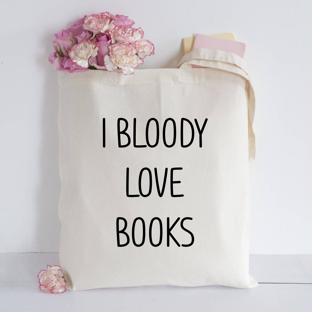 I bloody love books tote bag