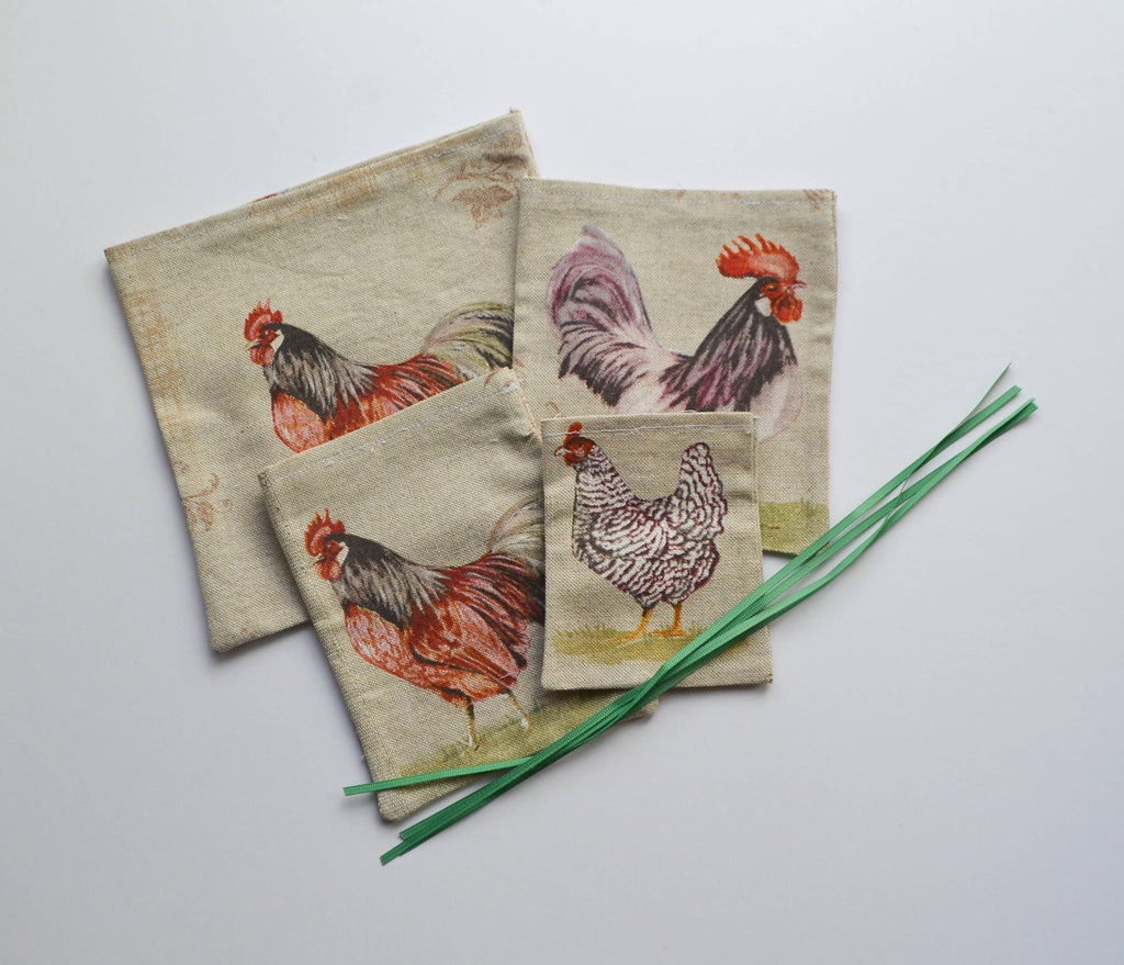 Four Chicken Fabric Reusable Gift Bags Set
