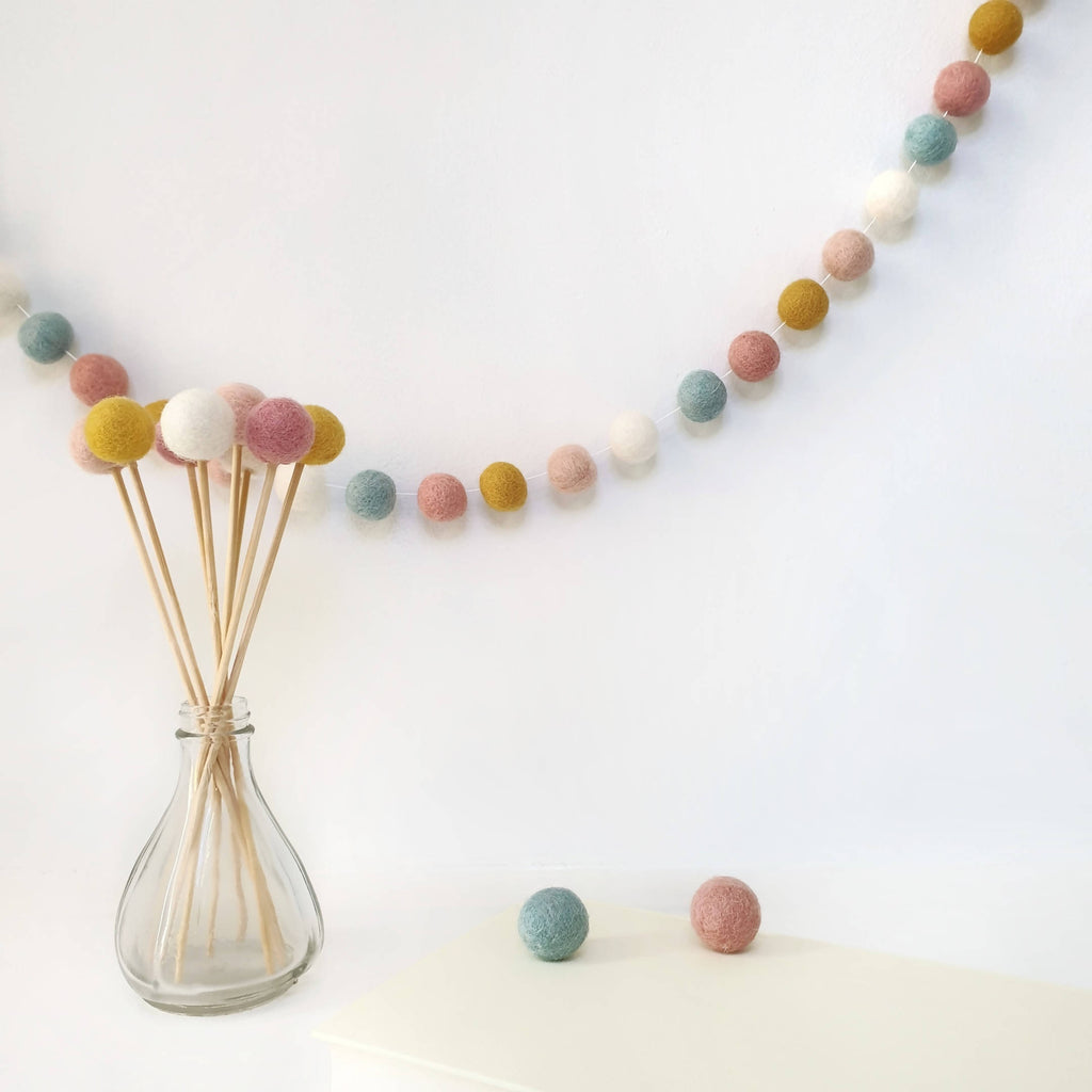 Bloom Pastel Pom Pom Garland - Felt Ball Nursery Decor