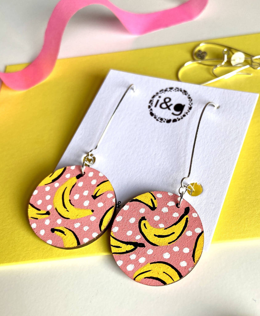 Pink Banana Fruit Dangle Wooden Earrings