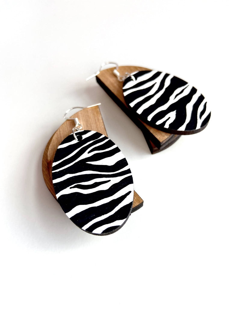 Zebra Oval Drop Wooden Earrings