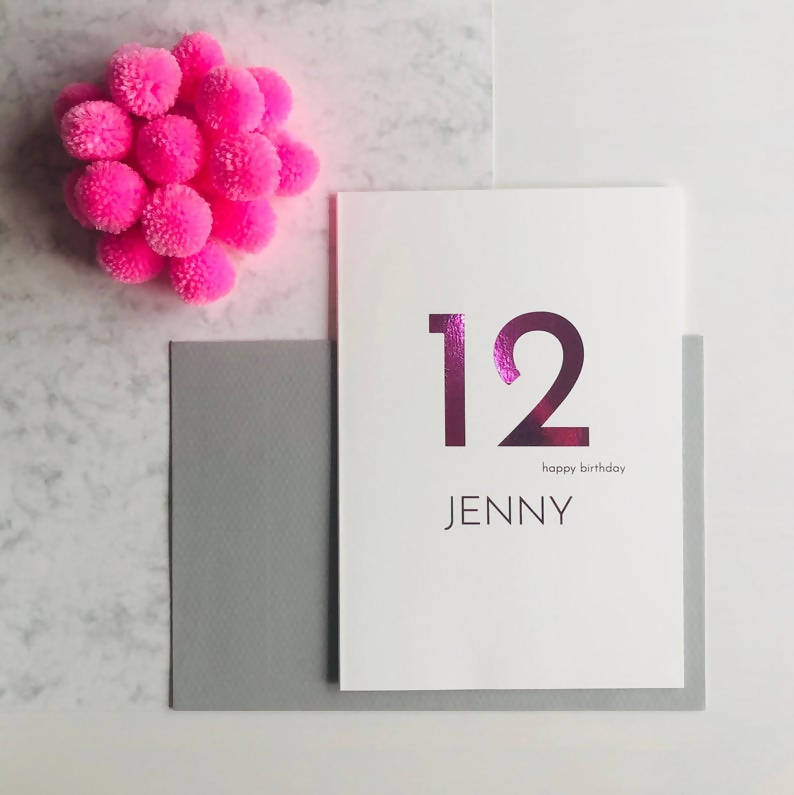 Personalised 12th Birthday Card